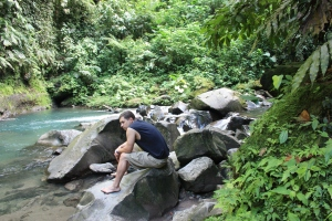 Soaking in the La Fortuna Cataratas river