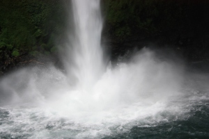 "Majestic ""Splash"" at the bottom of the waterfall at La Fortuna"