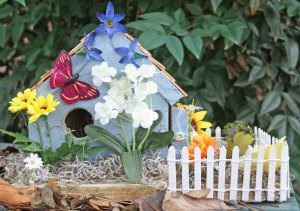 Blue Floral Bird House